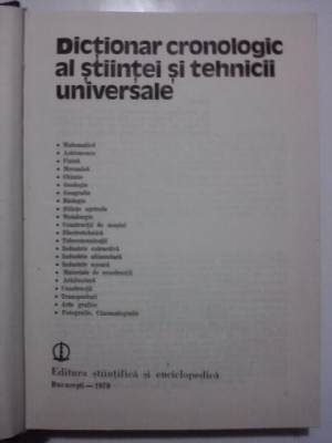 Dictionar cronologic al stiintei si tehnicii universale / cu fotografii / R6P1F foto
