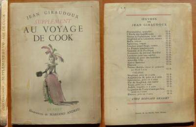 Jean Giraudoux , Supplément au voyage de Cook , 1937 , editia 1 de lux ilustrata foto