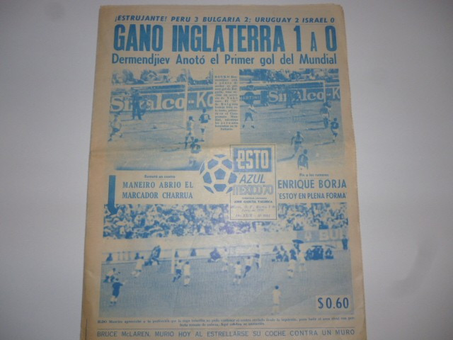 Ziar de fotbal-ESTO MEXICO 70 F.RAR! ) 02.06.1970 ROMANIA - ANGLIA