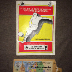Bilet si program de la meciul Steaua-Barcelona 1986
