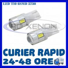 BEC AUTO LED LEDURI POZITIE T10 (W5W) - 6 SMD 5730 - PREMIUM - POZITII NUMAR