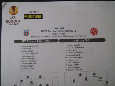 Steaua Bucuresti - Aalborg BK (18 septembrie 2014) / foaie de joc foto