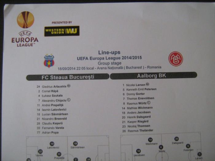 Steaua Bucuresti - Aalborg BK (18 septembrie 2014) / foaie de joc