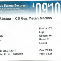 Bilet meci Steaua - Gaz Metan Medias (2010)