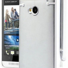 Husa silicon rigid transparent margine alba bumper HTC ONE M7