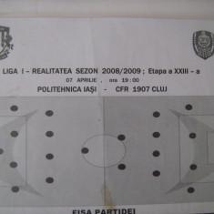 Politehnica Iasi - CFR Cluj Napoca (7 aprilie) / foaie de joc - Program meci