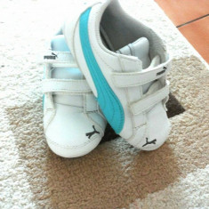 Adidasi copii Puma, Marime: 25, Culoare: Alb, Unisex, Piele naturala