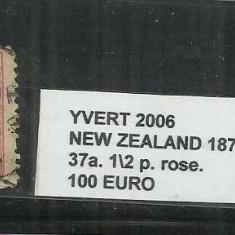 NEW ZEALAND 1873 - 37 A. 1/2 P., Stampilat