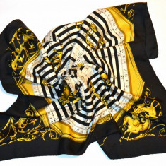 Esarfa vintage Hermes Paris DIES ET HORE (Astrologie) - autentica - Esarfa, Sal Dama Hermes, Culoare: Negru, Marime: Masura unica, Matase