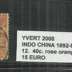 INDOCHINE 1892 - 96 - 12. 40 C., Stampilat