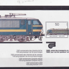 Trenuri i, locomotiva, Belgia. - Timbre straine, Nestampilat