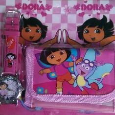 Set ceas de mana si portofel Dora - Set rechizite