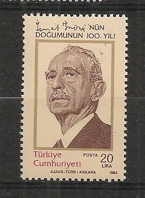 Turcia.1984 100 ani nastere I.Inonu-presedinte  ST.423