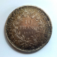 Moneda argint 10 franci / francs 1965 - 25 grame - puritate 0, 900 III, Europa