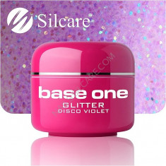Gel color Silcare Base One Glitter Disco Violet 5 g nr. 11 - Gel unghii, Gel colorat