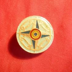 Insigna Militara Romania, metal si email, D= 2cm