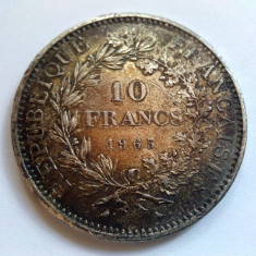 Moneda argint 10 franci / francs 1965 - 25 grame - puritate 0, 900 ( IV ), Europa