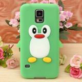 Husa silicon model pinguin Samsung Galaxy S5 G900 i9600 + folie protectie ecran, Verde