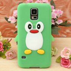 Husa silicon model pinguin Samsung Galaxy S5 G900 i9600 + folie protectie ecran - Husa Telefon Samsung, Verde
