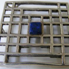 Brosa veche din argint cu piatra albastra - de colectie - Brosa argint