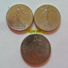 Lot 3 Monede Franci - Franta: 1974, 1980, 1991 *cod 830, Europa