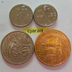Lot 4 Monede Diferite Italia, ani diferiti: 50-100-200 Lire *cod 835 UNC
