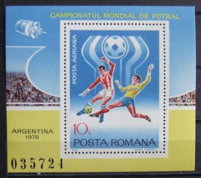 ROMANIA 955/1978 - CAMPIONATUL MONDIAL DE FOTBAL, 1 S/S  NEOBLITERATA - RO 0342 foto