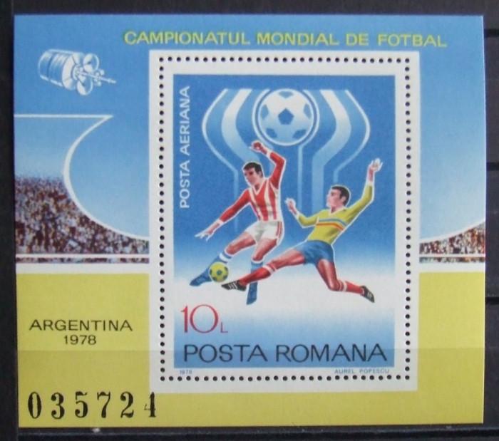 ROMANIA 955/1978 - CAMPIONATUL MONDIAL DE FOTBAL, 1 S/S  NEOBLITERATA - RO 0342 foto mare
