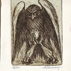 Gravura MARCEL CHIRNOAGA - Pajura singuratatii - Pictor roman, Abstract, Cerneala, Suprarealism