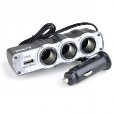 Tripla auto pentru bricheta cu port USB - Bricheta Auto