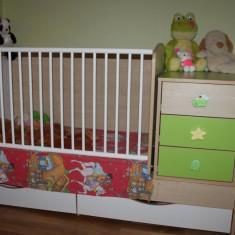 Patut transformer cu sistem de leganare - Patut lemn pentru bebelusi Baby Design, 160X70cm, Crem