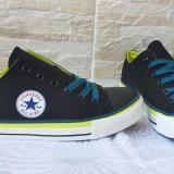 Adidasi Tenisi Converse Negru cu verde - Tenisi barbati Converse, Marime: 42.5, 43, Textil