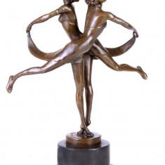 GEMENII- STATUETA DIN BRONZ PE SOCLU DIN MARMURA - sculptura reproducere, Animale