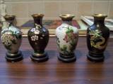 Set 4 vaze Cloisonne (alama si email), cu suport + bonus