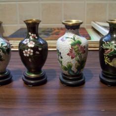 Set 4 vaze Cloisonne (alama si email), cu suport + bonus - Arta Ceramica