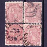 "Timbre ROMANIA 1890 = CAROL I ""CIFRA IN 4 COLTURI"" 1, 1/2 BANI VIOLET, Stampilat"