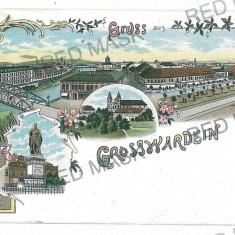 3049 - L i t h o, ORADEA, Synagogue - old postcard - used - 1898 - Carte Postala Crisana pana la 1904, Circulata, Printata