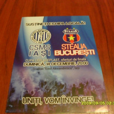 Program CSMS iasi - Steaua - Program meci
