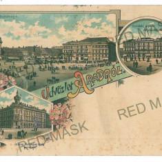 3055 - L i t h o, ARAD - old postcard - used - 1897 - Carte Postala Banat pana la 1904, Circulata, Printata