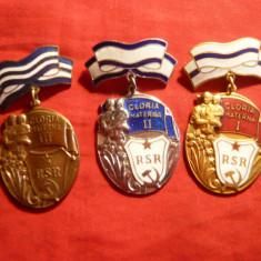 Set 3 Medalii - Gloria Materna RSR, clasa I, II, si III, metal si email - Medalii Romania, An: 1960