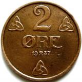 NORVEGIA, 2 ORE 1937, Europa, Cupru (arama)