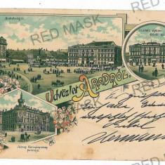 3053 - L i t h o, ARAD - old postcard - used - 1897 - Carte Postala Banat pana la 1904, Circulata, Printata