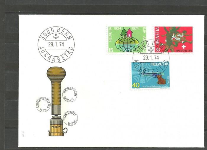 Elvetia 1974 – ANIVERSARI, TIR SPORTIV SI ATLETISM, FDC foto mare