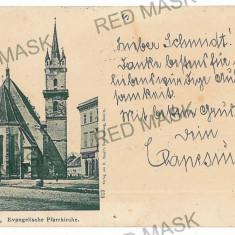 693 - Litho, BISTRITA, Church - old postcard - used - 1900 - Carte Postala Transilvania pana la 1904, Circulata, Printata