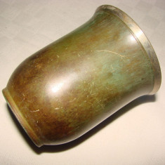 Cupa suedeza din bronz patinat, marcata ORI - Metal/Fonta, Vase