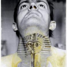 Ion Grigorescu  –  Gatul. Autoportret cu Tuthankamon. CU AUTOGRAF, Portrete, Cerneala, Suprarealism