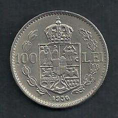 ROMANIA 100 LEI 1936 VF++ [9] Livrare in cartonas - Moneda Romania, Nichel