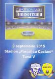 Program meci fotbal CS PAULESTI - FC BRASOV 09.09.2015 (Cupa Romaniei)