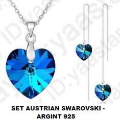 SET bijuterii COLIER CERCEI austrian swarovski INIMA bleu albastru argint 925 - Set Swarovski