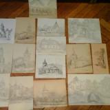 Grafica Litteczky Endre 15 bucati - Pictor roman, Peisaje, Cerneala, Realism